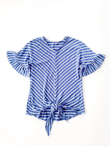 Stripe Top Ruffle Sleeve with Front Tie