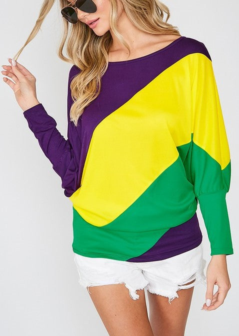 Mardi Gras Boat Neck Color Blocked Knit Top