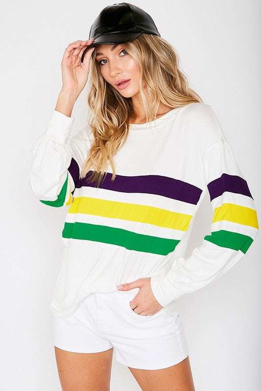 Mardi Gras Multi Stripe Top