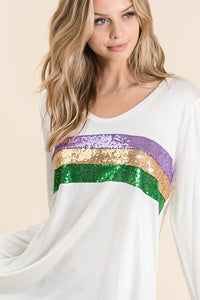 Mardi Gras Jersey Knit Deep U-Neck Top