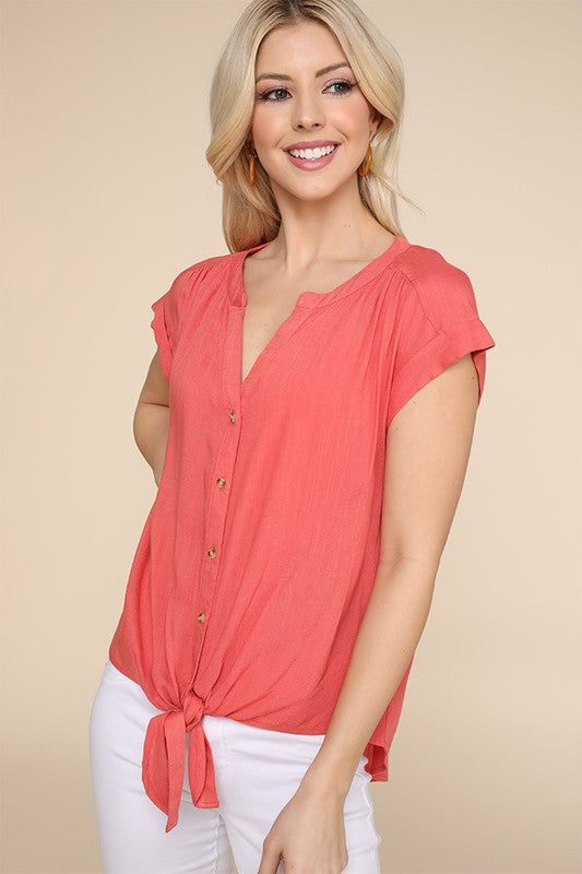 Knotted Button Down Tie Top