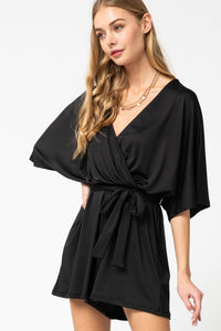 Solid V Neck Wrap Romper