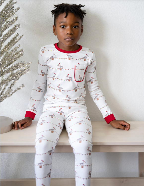 Christmas Pelicans Organic Cotton Pajama Set