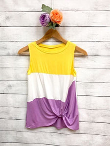 Color Block Front Knot Top
