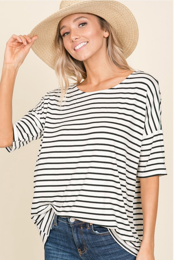 Stripe Short Sleeves Top