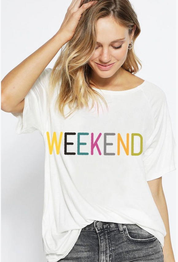 Loose Fit Graphic Knit Raglan- Weekend