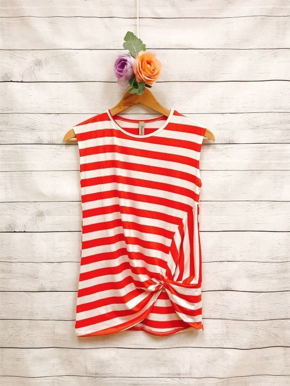Tween Stripe Sleeveless Front Knot Top