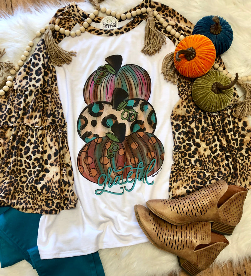Bell Sleeve {Leopard Grateful Pumpkin}
