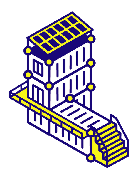 Illustration: Multi-Level Shipping Containers with Stairs, Railings, and Solar Panels