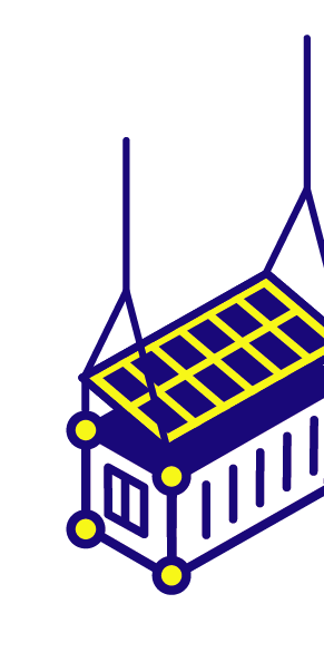 Illustration: Shipping Container with Solar Panels