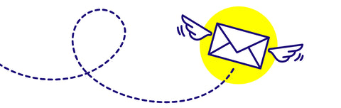 Domino Clamps - Contact Us Flying Envelope Graphic