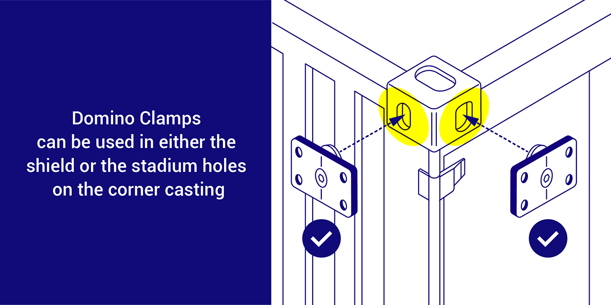 Domino Clamps can be used in either the shield or stadium holes on the corner casting