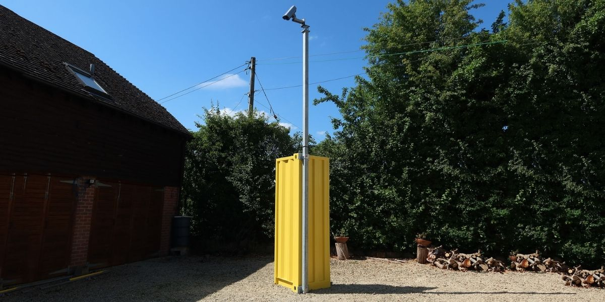 Altron pole and CCTV attached to a shipping container