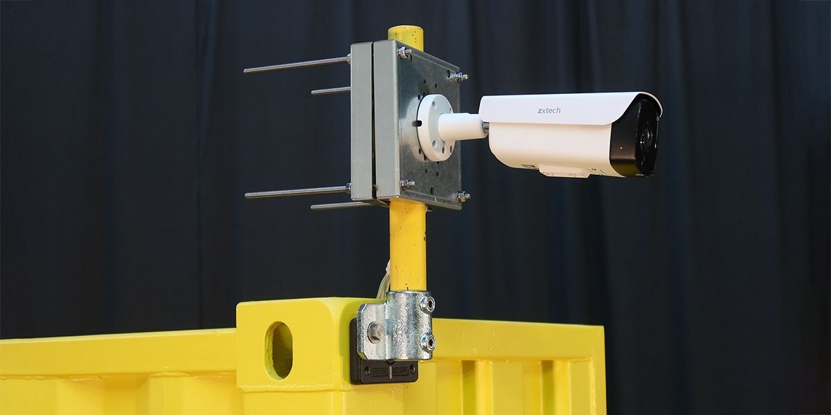 Universal CCTV bracket attached to a shipping container
