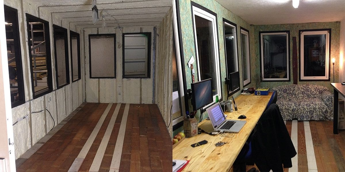 Shipping container office office before and after conversion