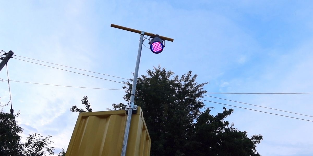 stage light attached to a shipping container