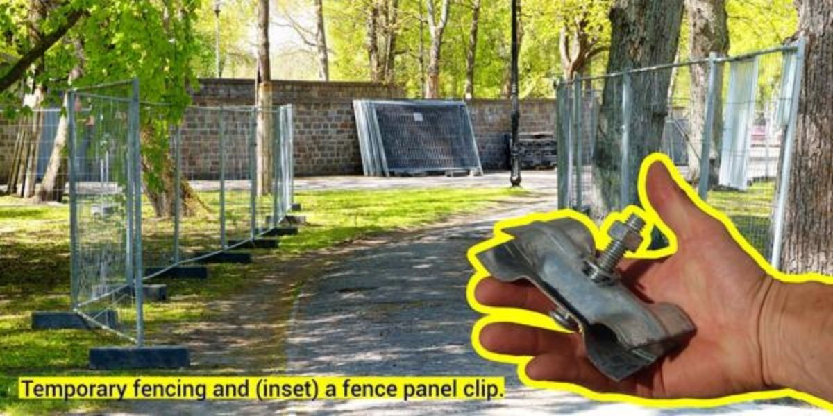 Temporary fencing and fence panel clip