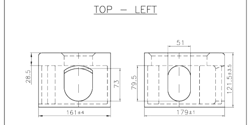 A top left shipping container corner casting schematic drawing