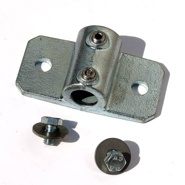 A single 34mm palm railing tube clamp with screws ans washers for bolting a 34mm steel tube to a shipping container using a domino clamp