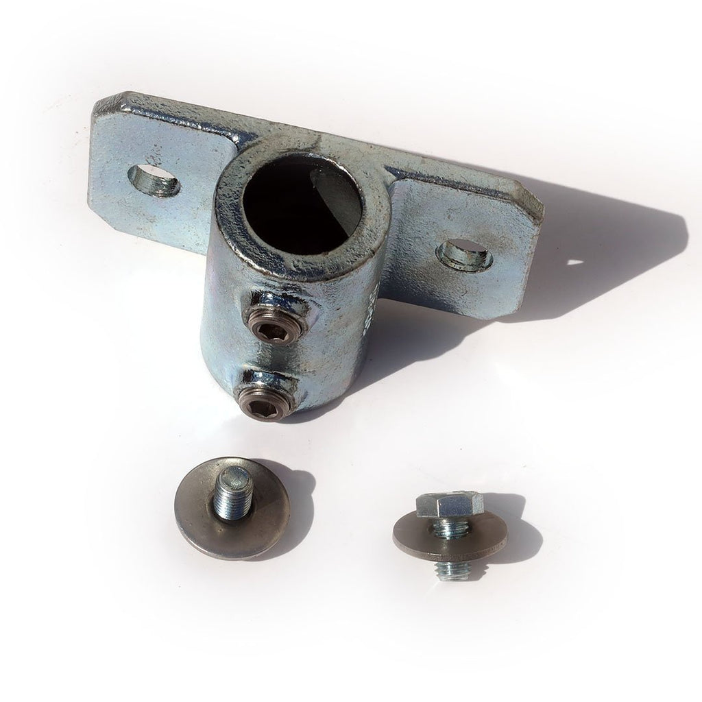 A single 42mm unbored tube clamp, with screws and washers for attaching bolting to a domino clamp