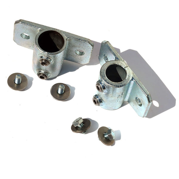 A pair of 42mm palm railing tube clamps, complete with Bolts and washers