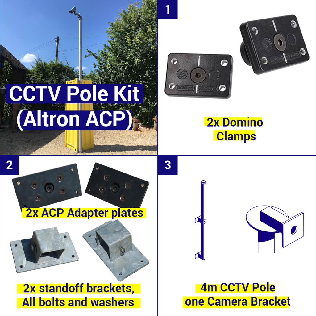 Shipping Container CCTV kit, 4m pole, 1 camera bracket