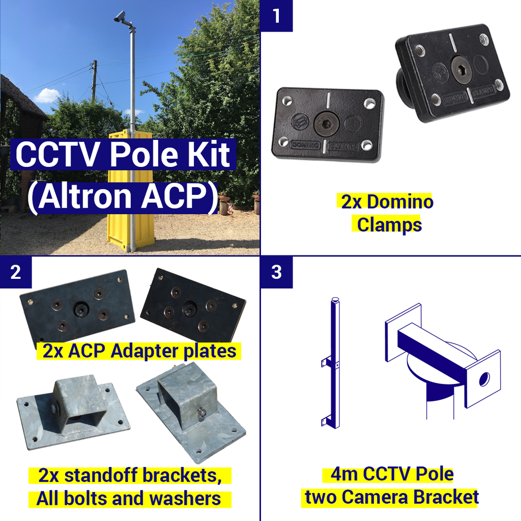 Shipping Container CCTV pole Kit, 4m pole, 2 camera brackets
