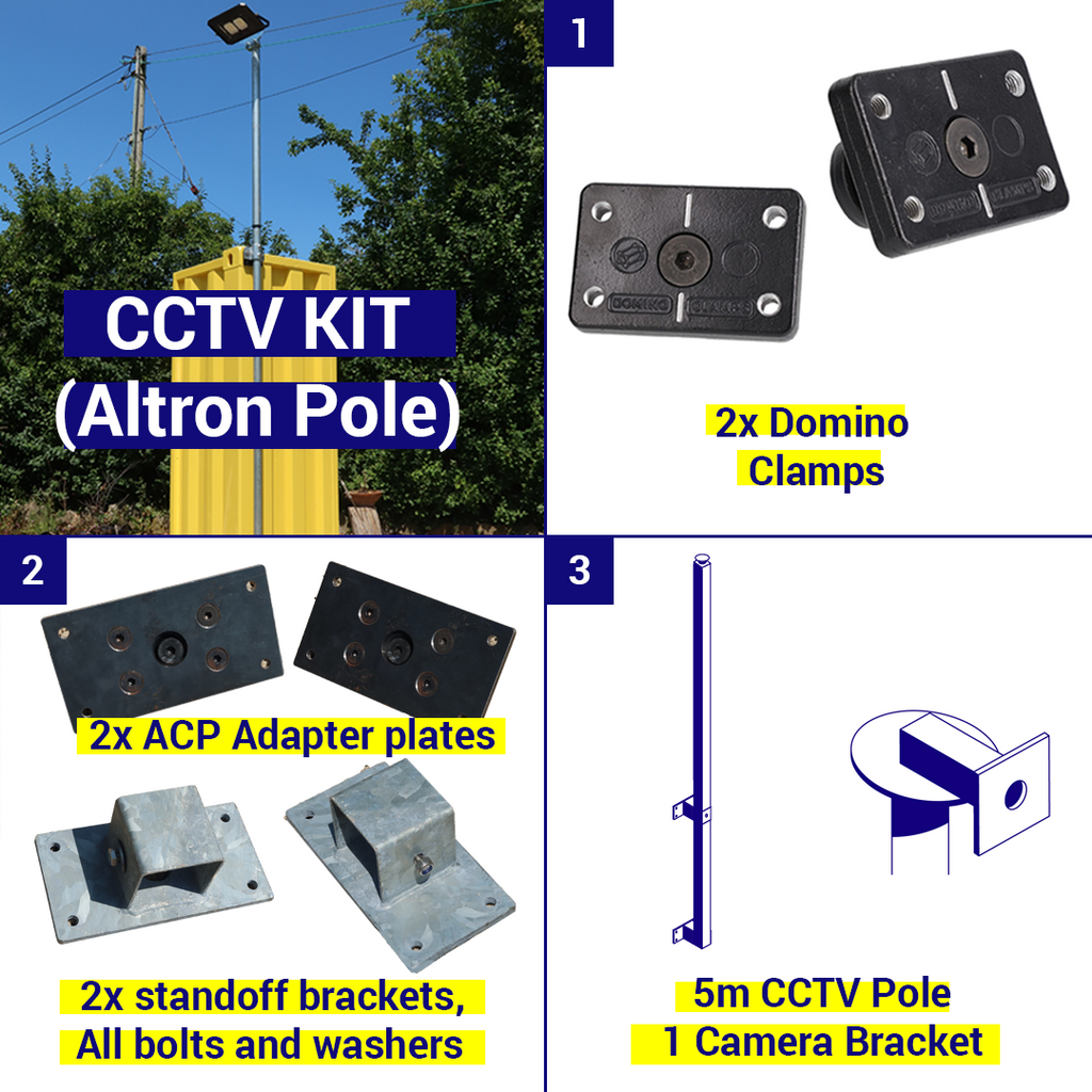 Shipping Container CCTV Kit, 5m pole, 1 camera bracket