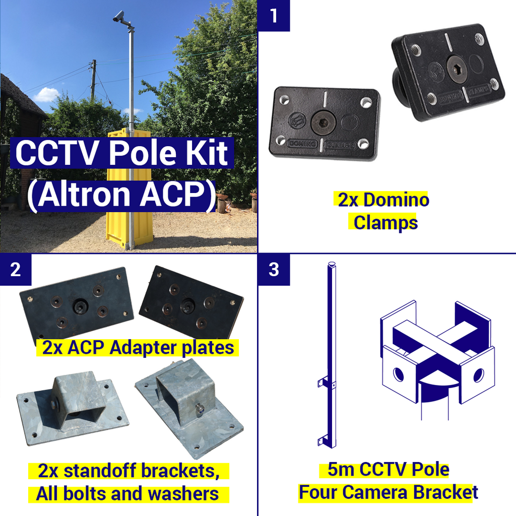 Shipping Container CCTV kit, 5m pole, 4 camera brackets