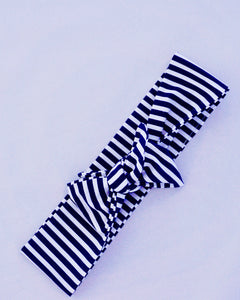 Navy and White stripped Headband