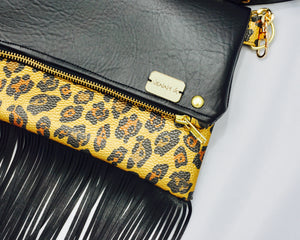 Leopard Foldover crossbody Clutch with Fringe