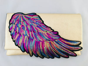 Sequin Rainbow Angel Wing clutch