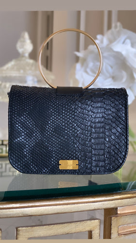 Black Python Clutch with Ring Handle