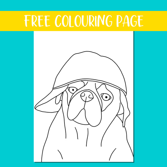 Baseball Pug Colouring Page