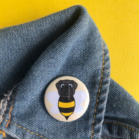 Black Bumblepug Button