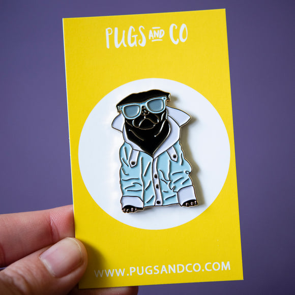 Cool Black Pug Enamel Pin