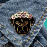 Black Flower Crown Pug Enamel Pin