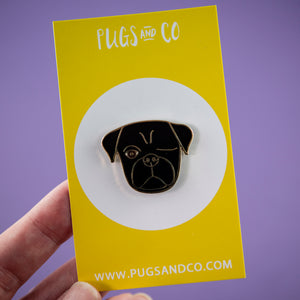 Black Pirate Pug Enamel Pin
