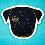 Black Pirate Pug Sticker