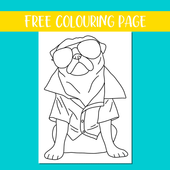 Chilled Pug Colouring Page
