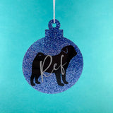 Personalised Pug Christmas Bauble
