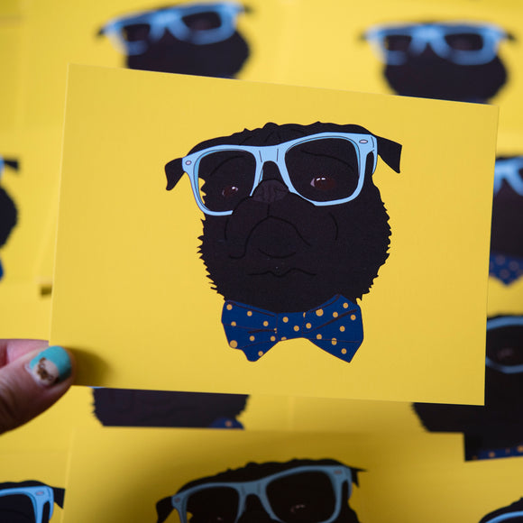 Dapper Black Pug Postcard Print