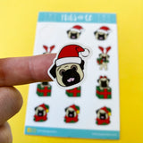 Fawn Pug Christmas Sticker Sheet