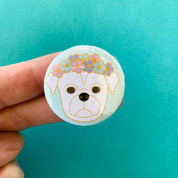 White Flower Pug Magnet