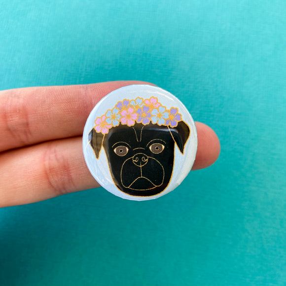 Black Flower Pug Magnet