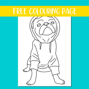 Hoodie Pug Colouring Page