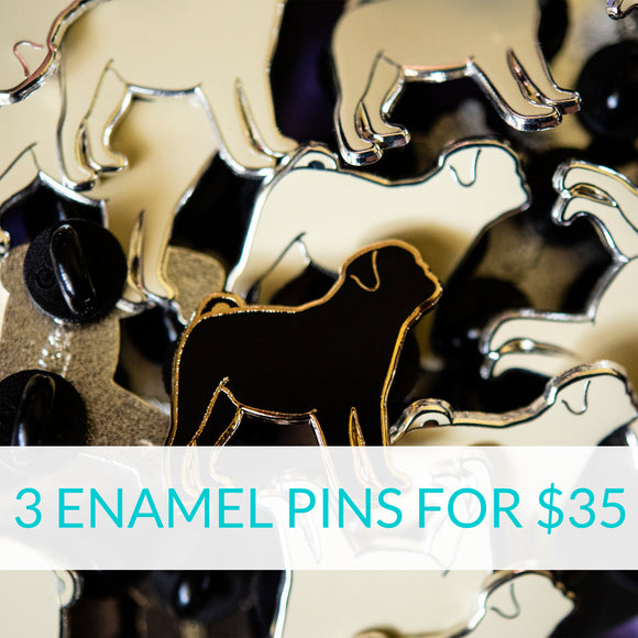 3 Enamel Pins for $35