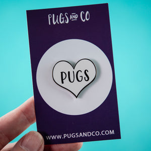 Pug Heart White Enamel Pin