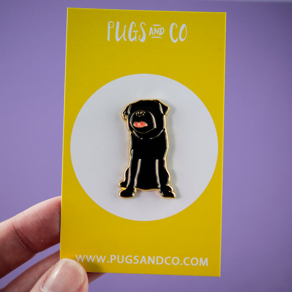 Faceless Black Pug Enamel Pin