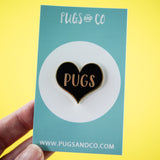 Pug Heart Black Enamel Pin